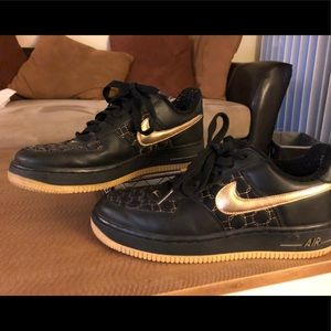 Black with Gold Nike Air Force 1. *Never Worn*